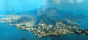 Aden; strategic position of Gulf of Aden; Ariel view of Crater, Aden.