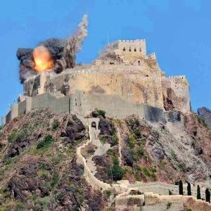 al qahira castle being bombed