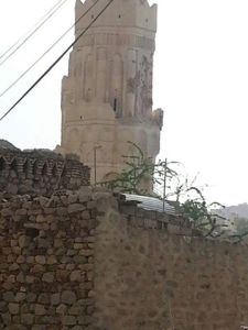 The damage to the minaret