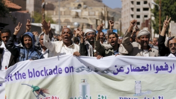 demonstration against the war and blockade in Sanaa